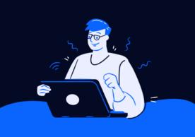 cartoon at computer